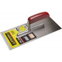 """Гладилка STAYER """"MASTER"""" стальная с деревянной ручкой, зубчатая, 4х4мм 0801-04"""