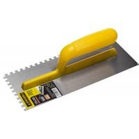 """Гладилка STAYER """"MASTER"""" стальная с пластмассовой ручкой, зубчатая, 6х6мм, 120х280мм 08012-06"""