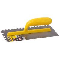 """Гладилка STAYER """"MASTER"""" стальная с пластмассовой ручкой, зубчатая, 8х8мм, 120х280мм 08012-08"""