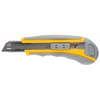 """Нож STAYER """"MASTER"""" двухкомпонентный корпус,серо-желтый,серая кнопка,автостоп,допфиксатор,кассетой на 5лезвий,18мм 09142"""