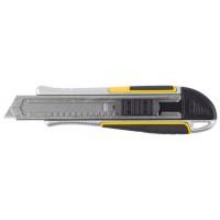 "Нож STAYER ""PROFI"" обрезиненная рукоятка Super Grip,метал. корпус,автостоп,допфиксатор,кассета на 6 лезвий,18мм 09146"