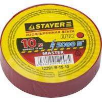 """Изолента STAYER """"MASTER"""" красная, ПВХ, 5000 В, 15мм х 10м 12291-R-15-10"""