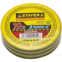 "Изолента STAYER ""MASTER"" желто-зеленая, ПВХ, 5000 В, 15мм х 10м 12291-S-15-10"