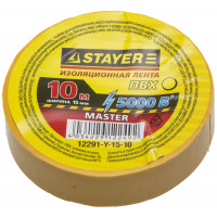 "Изолента STAYER ""MASTER"" желтая, ПВХ, 5000 В, 15мм х 10м 12291-Y-15-10"