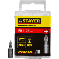 "Биты STAYER ""PROFESSIONAL"" ProFix Phillips, тип хвостовика C 1/4"", № 1, L=25мм, 10шт 26201-1-25-10_z01"