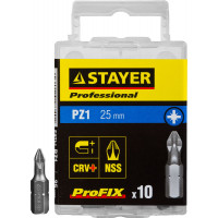 "Биты STAYER ""PROFESSIONAL"" ProFix Pozidriv, тип хвостовика C 1/4"", № 1, L=25мм, 10шт 26221-1-25-10_z01"