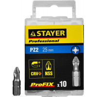 "Биты STAYER ""PROFESSIONAL"" ProFix Pozidriv, тип хвостовика C 1/4"", № 2, L=25мм, 10шт 26221-2-25-10_z01"