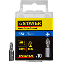 "Биты STAYER ""PROFESSIONAL"" ProFix Pozidriv, тип хвостовика C 1/4"", № 3, L=25мм, 10шт 26221-3-25-10_z01"