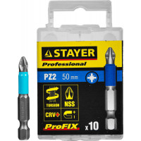 "Биты STAYER ""PROFESSIONAL"" ProFix Pozidriv, тип хвостовика E 1/4"", № 2, L=50мм, 10шт 26223-2-50-10_z01"