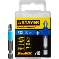 "Биты STAYER ""PROFESSIONAL"" ProFix Pozidriv, тип хвостовика E 1/4"", № 3, L=50мм, 10шт 26223-3-50-10_z01"