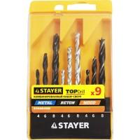 "Набор STAYER ""STANDARD"": Сверла комбинированные, дерево (4-6-8мм), металл (4-6-8мм), бетон (4-6-8мм), 9 предметов 29720-H9"