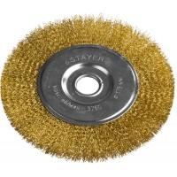 """STAYER """"PROFESSIONAL"""". Щетка дисковая для УШМ, витая стальная латунированная проволока 0,3мм, 175ммх22мм 35122-175"""