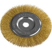 """STAYER """"PROFESSIONAL"""". Щетка дисковая для УШМ, витая стальная латунированная проволока 0,3мм, 200ммх22мм 35122-200"""