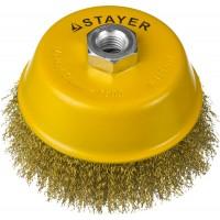 """STAYER """"PROFESSIONAL"""". Щетка чашечная для УШМ, витая стальная латунированная проволока 0,3мм, 125ммхМ14 35125-125"""
