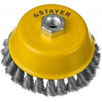 """STAYER """"PROFESSIONAL"""". Щетка чашечная для УШМ, жгутированная стальная проволока 0,5мм, 120ммхМ14 35128-120"""