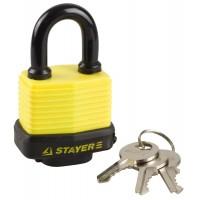 """Замок STAYER """"MASTER"""" навесной, всепогодный, пластиковая защита корпуса, с закаленной дужкой,на карточке, 50мм 37140-40"""